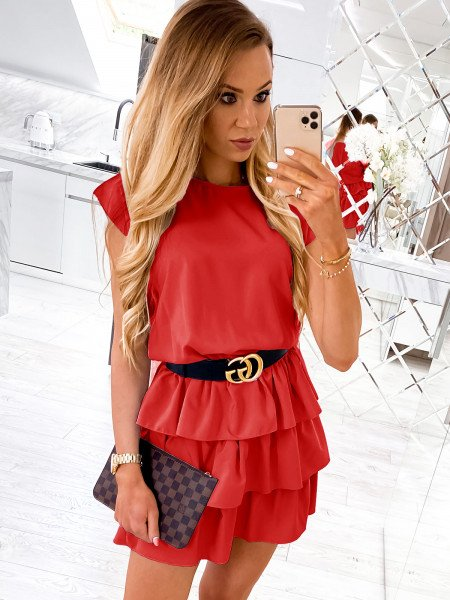 Mini sukienka z falbankami CLEO - malina