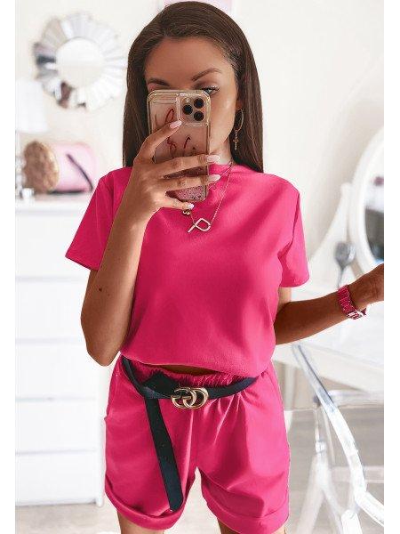 Komplet dresowy szorty + bluzka MIAMI - fuksja
