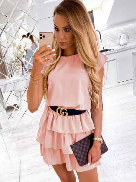 Mini sukienka z falbankami CLEO - brzoskwinia