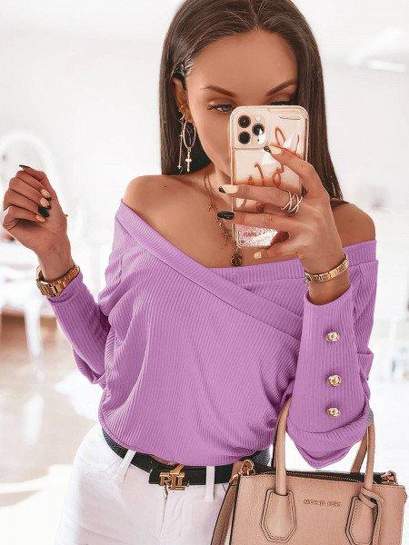 Prążkowana kopertowa bluzka CHICKY - lila