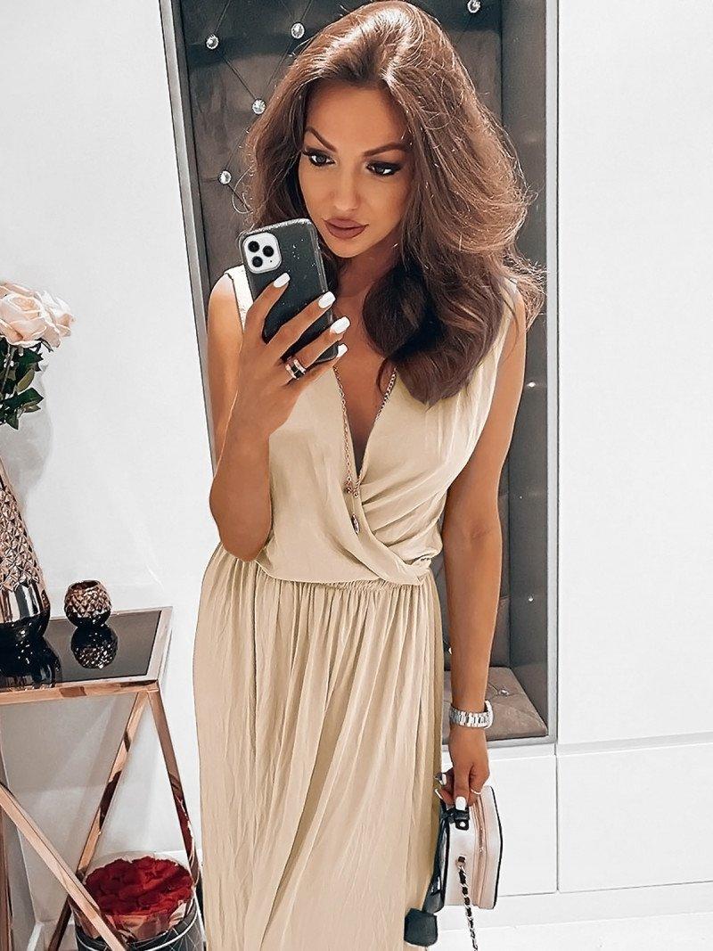 Kobieca maxi sukienka EMMY - latte
