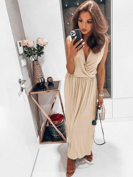 Kobieca maxi sukienka EMMY - beżowy