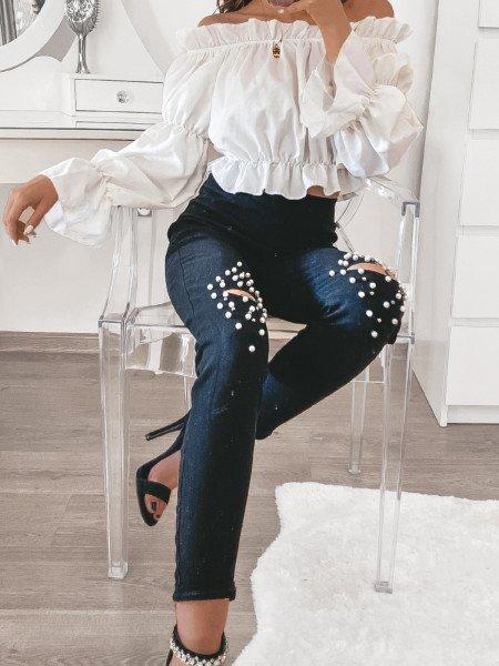 Spodnie rurki z perłami...