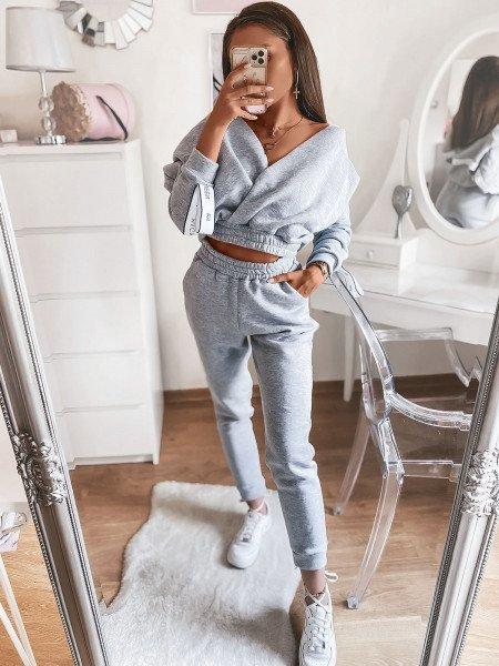 Dres spodnie + kopertowa bluza NATURALS - szary melanż