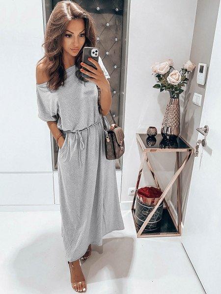 Dresowa maxi sukienka oversize GREECE - szary melanż