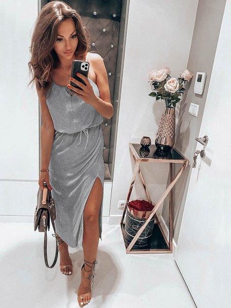 Maxi sukienka na ramiączkach TULUM - szary melanż