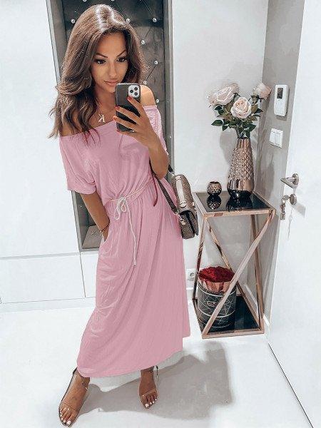 Dresowa maxi sukienka oversize GREECE - pudrowy róż