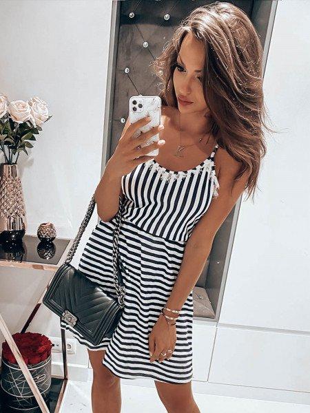 Wiązana sukienka w paski ITALY - wzór 2