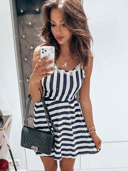 Wiązana sukienka w paski ITALY - wzór 3