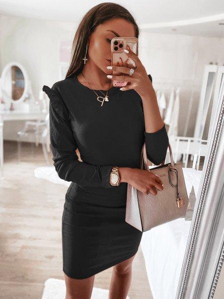 Prążkowana sukienka z mini falbanką ROKSY - czerń