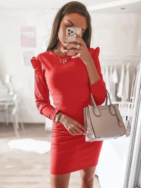 Prążkowana sukienka z mini falbanką ROKSY - malina