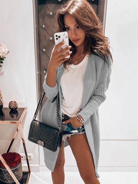 Ciepły długi kardigan sweter oversize - WEAVE - popielaty