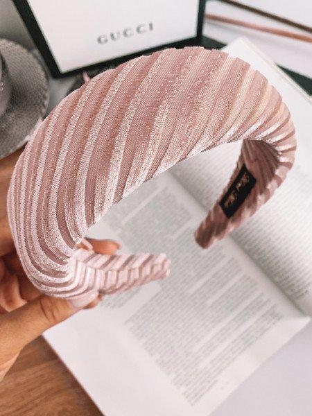 Opaska turban PUFF - pudrowa