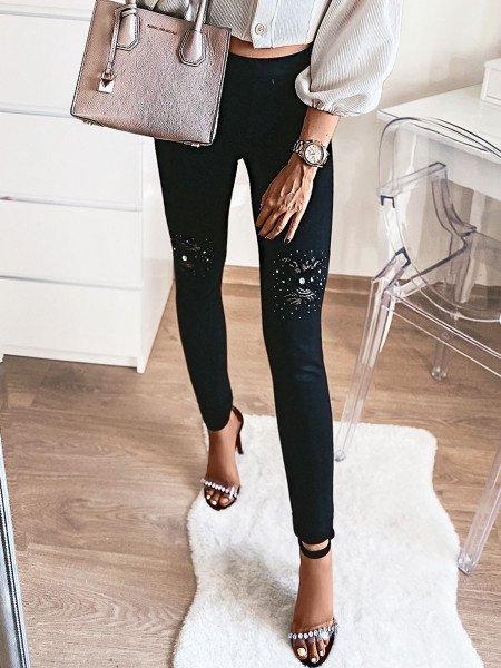 Spodnie jegginsy z dzetami i koronką DANCE - czerń