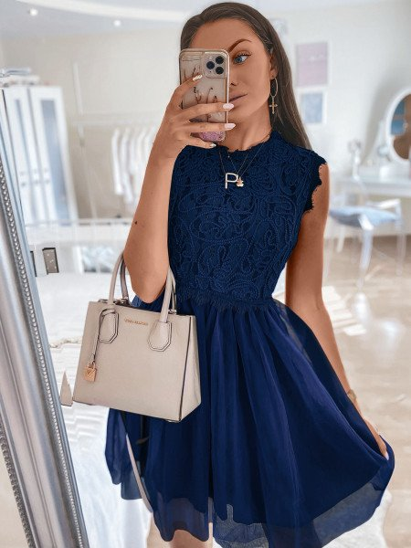 Tiulowa sukienka z ażurem - ELEGANCE - granatowa