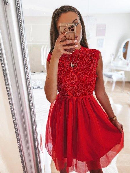 Tiulowa sukienka z ażurem - ELEGANCE - malinowa