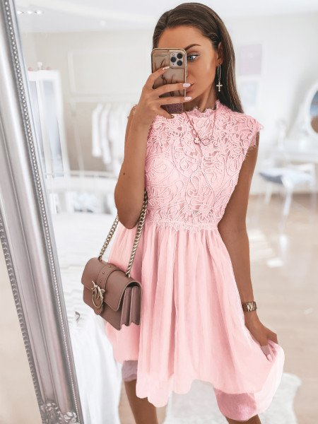 Tiulowa sukienka z ażurem -...
