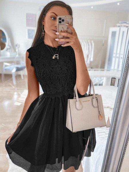 Tiulowa sukienka z ażurem - ELEGANCE - czerń