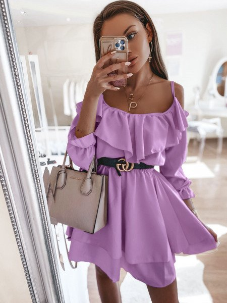 Rozkloszowana sukienka hiszpanka - TIRA - lila