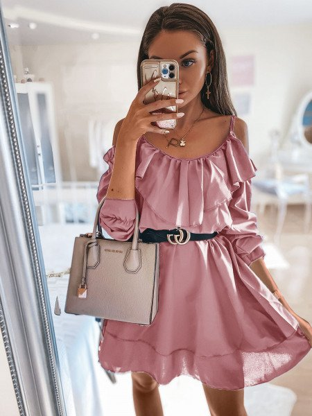 Rozkloszowana sukienka hiszpanka - TIRA - brudny róż
