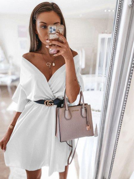Sukienka z kopertowym dekoltem MELODY - biel