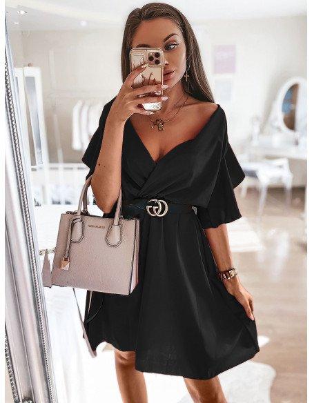 Sukienka z kopertowym dekoltem ALICJA - czerń