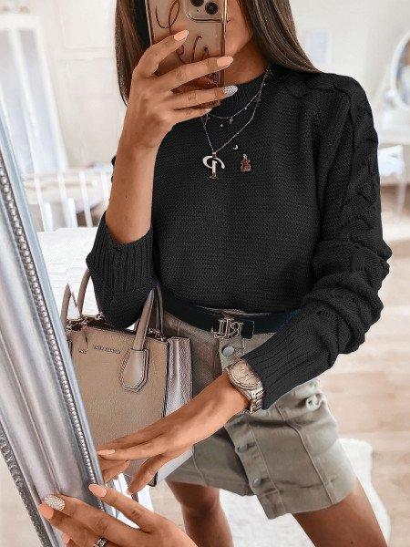 Sweter z plecionym rękawem BRAID - czerń