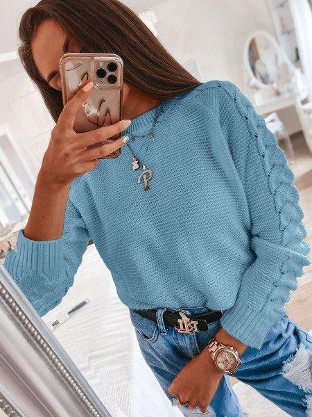 Sweter z plecionym rękawem BRAID - błękitny