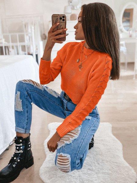Sweter z plecionym rękawem BRAID - orange