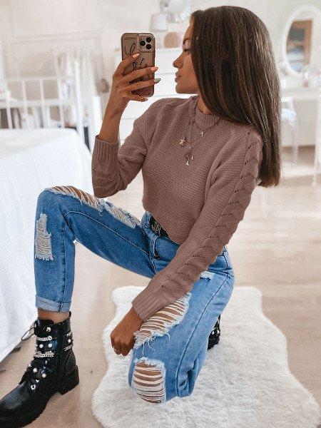 Sweter z plecionym rękawem BRAID - latte