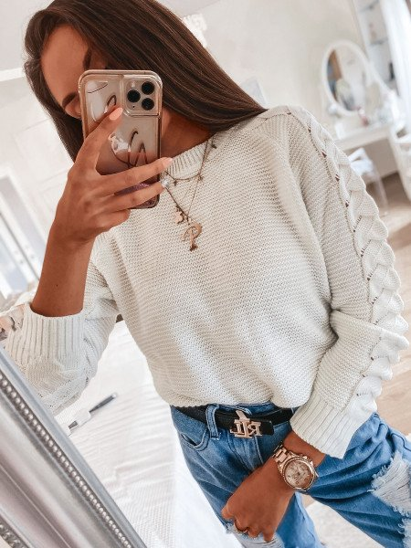 Sweter z plecionym rękawem BRAID - ecru
