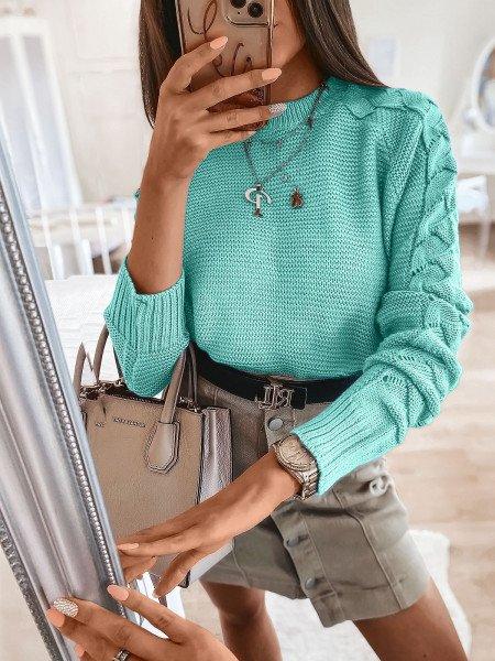 Sweter z plecionym rękawem BRAID - miętowy