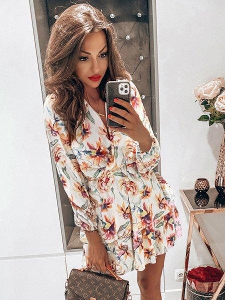 Rozkloszowana sukienka w print BONITA - wzór 35