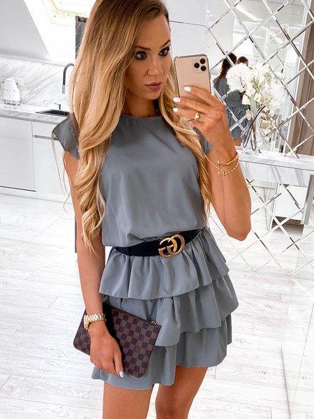 Mini sukienka z falbankami CLEO - popiel