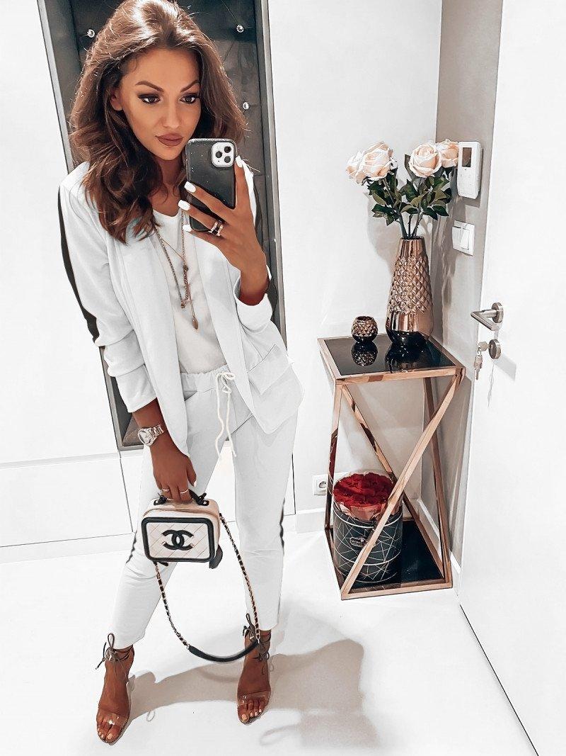 Kobiecy garnitur z modnym lampasem SET - biel