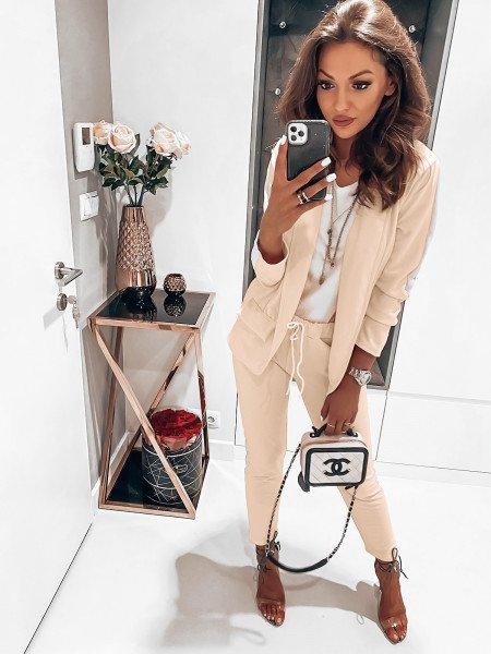 Kobiecy garnitur z modnym lampasem SET - jasny beż
