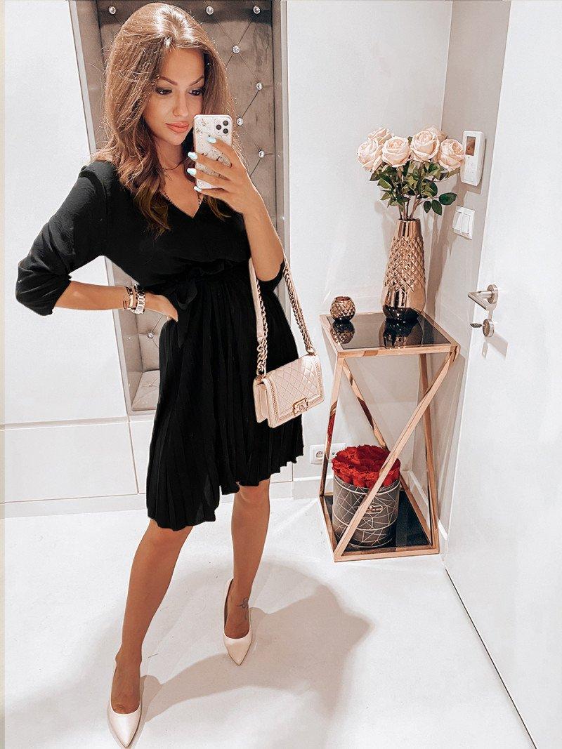 Plisowana sukienka midi EMILY - czarna