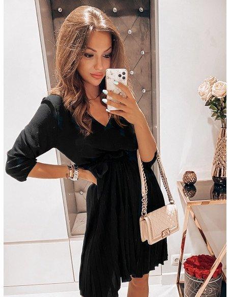 Plisowana sukienka midi EMILY - czarny