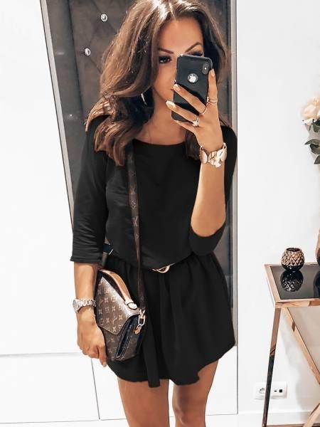 Rozkloszowana dresowa sukienka EVELINE - czerń