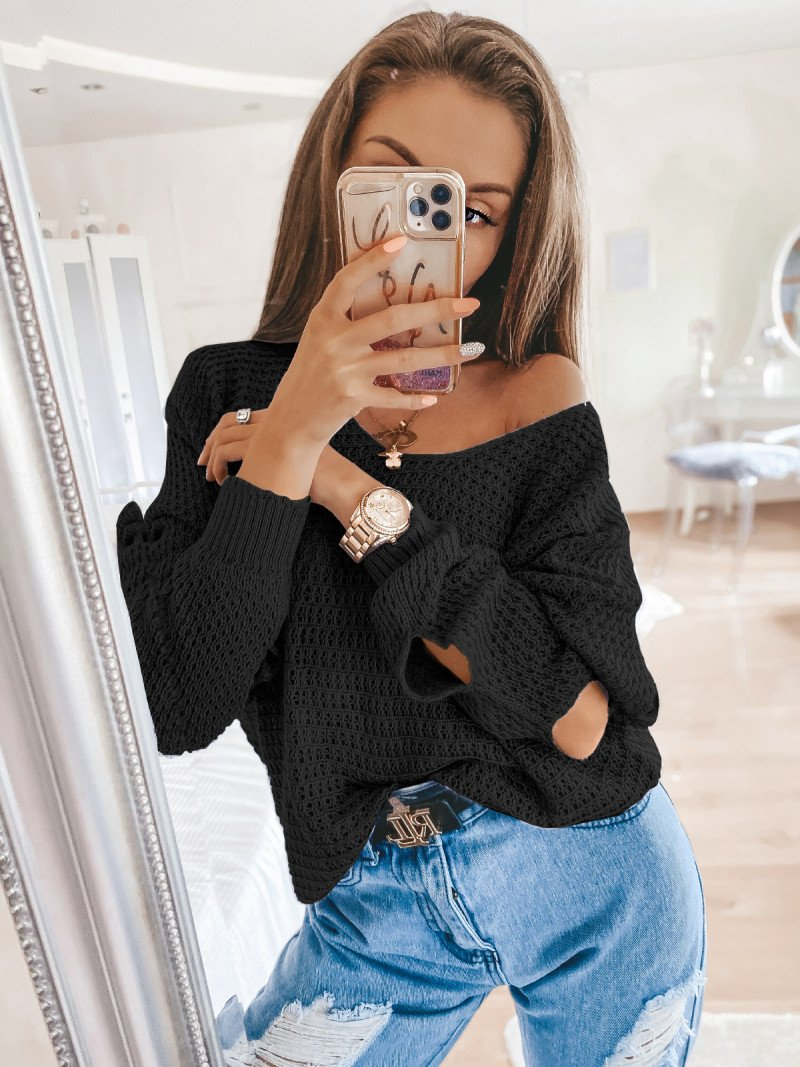 Pleciony sweter z rozcięciami ASHLEY...