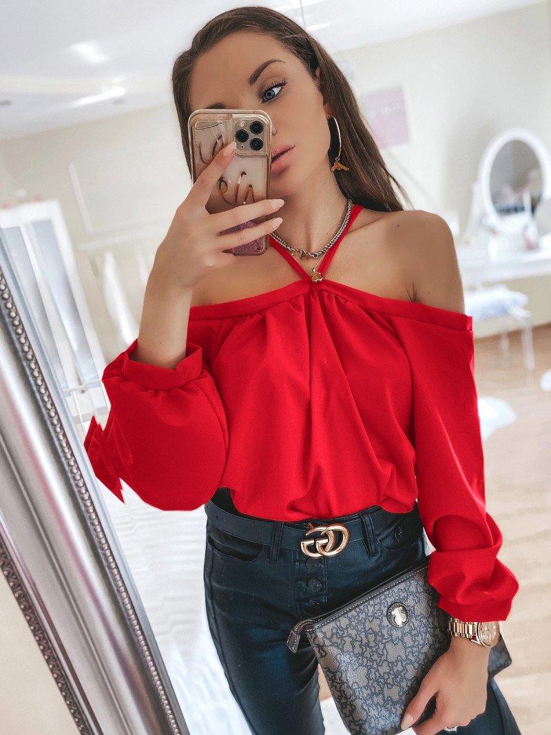 Bluzka oversize FRANCE - czerwony
