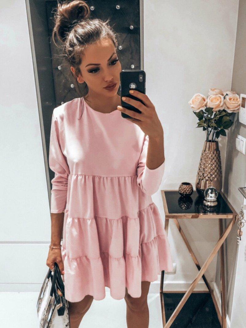 Trapezowa sukienka z falbankami LEXIE...