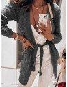 Kardigan narzutka z modnym splotem TRESS - grafitowy