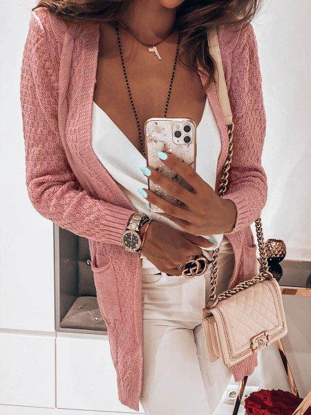 Kardigan narzutka z modnym splotem TRESS - pudrowy róż