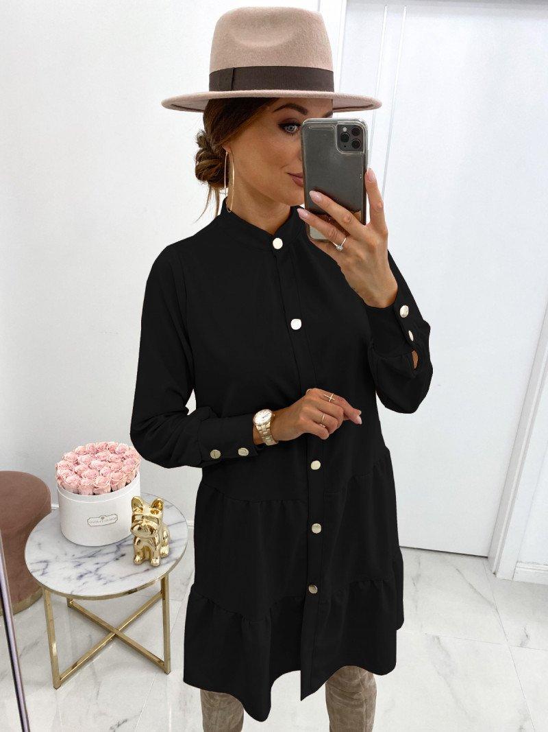 Sukienka zapinana na guziki ZIYA - czerń