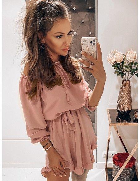 Rozkloszowana sukienka hiszpanka MADISON - brudny róż
