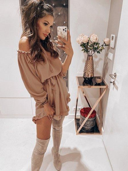 Rozkloszowana sukienka hiszpanka MADISON - beżowa