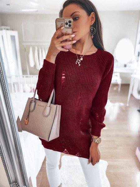 Sweter tunika z dziurami FILIPPA - bordowy