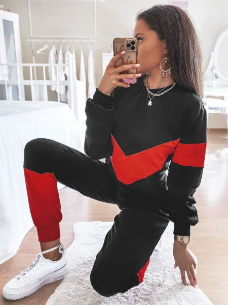 Dwukolorowy dres spodnie + bluza MARATHON - czarny