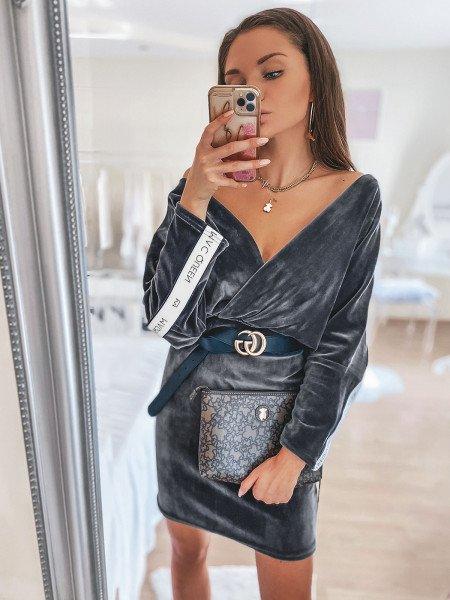 Welurowa ołówkowa sukienka SOFT - grafitowa